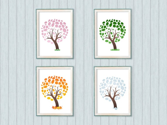 Nursery Wall Decor Set : Set of nursery wall decor with tree print nature