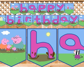 Peppa Pig Themed Muddy Puddles Happy Birthday Banner - Peppa Pig Muddy Puddles Themed Banner includes all letters of alphabet & numbers 1-9