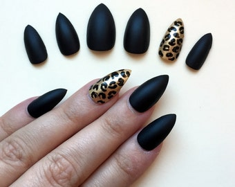 A set of hand painted false nails. Full cover. STILETTO. Matte Black and Leopard ring finger. NEW UK