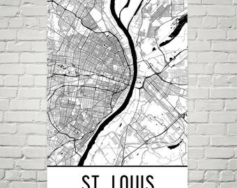 St. Louis Art, St. Louis Map, St. Louis Missouri Art Poster, St. Louis Wall Art, Map of Saint Louis MO, St. Louis Print, Modern, Art, Gift