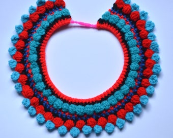 Turquoise, Red and Black Crochet Collar Necklace