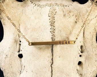 skinny bar necklace // gifts for her//5280 // denver colorado // bar necklaces // 14k bar necklace // brass bar necklace // dainty necklace