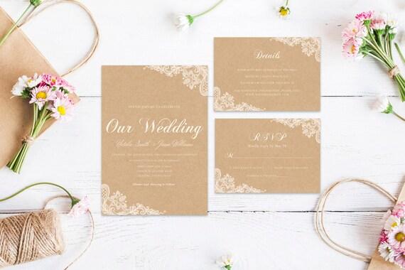 Lace wedding word,INSTANT DOWNLOAD, Editable Wedding template invitation. Microsoft Word template.Wedding Printable