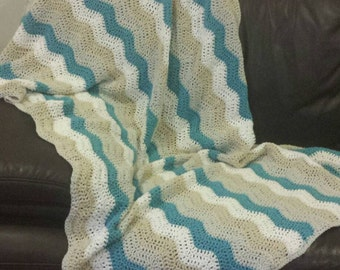 Crochet Handmade chevron blanket - Blue, white, grey & beige.