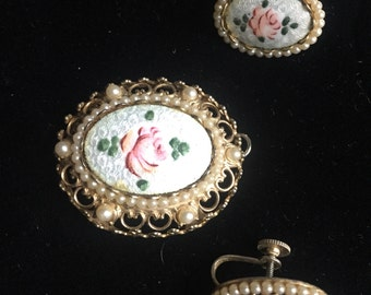 Coro signed earrings and pendant hand painted flower