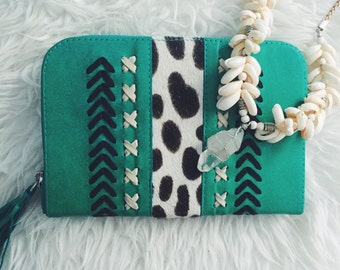Boho Cowhide Wallet in Green