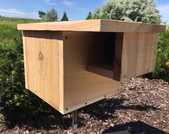 """Free Shipping!!! Handmade Cedar Squirrel House Nesting Box with 3"""" Entrance and Hinged Rear Door"""