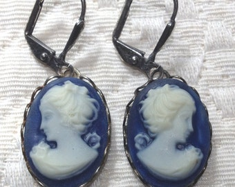 Navy Blue - Cameo Earrings - Hand Dyed
