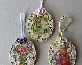 3 Fancy Easter Egg Ornaments Lace Dresdens Scraps Decorations Easter Tree Handmade #F