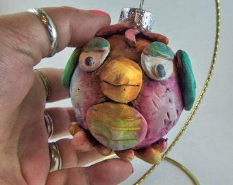 Red Owl  Christmas Ornament - Polymer Clay Bird Christmas Ball -Bird Christmas Decoration