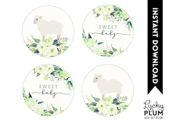 Lamb Cupcake Toppers / Sheep Cupcake Toppers / Woodland Cupcake Toppers / Flower Cupcake Toppers / Spring Cupcake Toppers / Lamb Labels