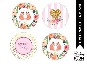 Fox Cupcake Toppers / Woodland Cupcake Toppers / Forest Cupcake Toppers / Twin Cupcake Toppers / Flower Cupcake Toppers