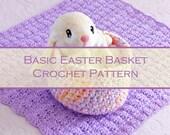 """Basic Easter Basket Pattern - Beginner Crochet Pattern - Easy 6"""" Basket Pattern - Downloadable .pdf"""