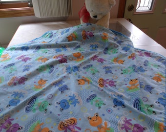 Frogs in a Pond flannel baby blanket