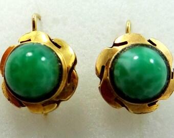 10k Gold Peking Glass Victorian Earrings