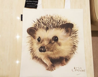 Henry the Hedgehog tote bag - Hedgehog design tote bag, Hedgehog leisure bag, Hedgehogowl shopping bag