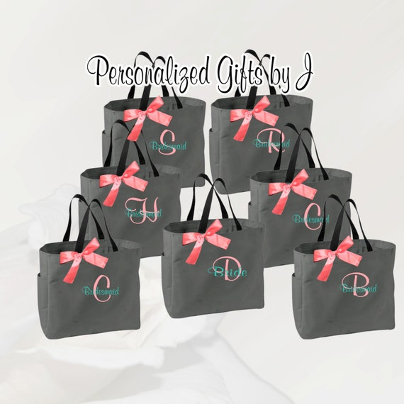 2 Personalized Bridesmaid Gift Tote Bags Wedding, Bridesmaids Gift Tote, Bridesmaid Tote, Bridesmaid Bag, Maid of Honor Gift, Bridal Bag