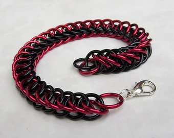 Red and Black Chainmail Bracelet - Unisex Mens Bracelet Metal Bracelet Chainmail Jewelry Rocker Chic Punk Jewelry Industrial Jewelry
