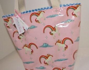 Unicorn Rainbow Pink Fabric Reusable Lunch Bag, Lunch Sack, Reusable Bag