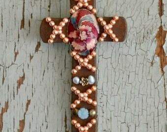 Rustic Wall Cross Peach Iris