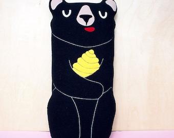 BLACK Bear Plush Toy Pillow Cushion, Honey Bear Soft Toy