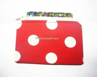 Retro Red polk dots, unpadded  portefeuille, small zipper coin purse, women wallet, credit card case, id1370591, portemonnaie