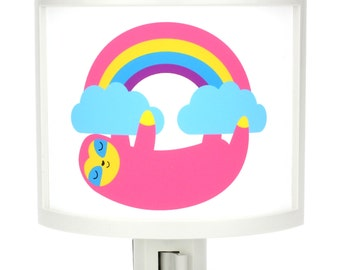 Rainbow Sloth Clouds Night Light Cute Nursery Bathroom hallway Bedroom GET IT nightlight Nite Lite