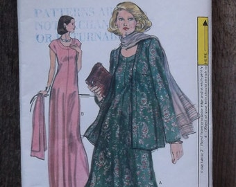 Vogue 9626 A-line Tent Tee Dress Sewing Pattern / Evening Gown Long Tunic Flared Jacket // sz 14 36 Bust