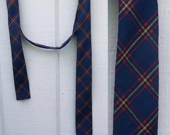 Vintage 50s - 60s Woold Navy Plaid Square End Skinny TIE by Melbroke / 100% Virgin Wool flat square end  //  Cravat Necktie