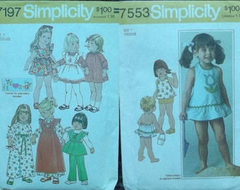 Vintage 70s Simplicity Pattern 7553 and 7197 - Set of 2 / Toddler Pinafore Apron and Halter Dress or Top, Shorts and Bloomers // Size 1