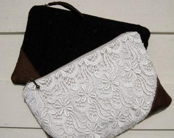 Lace Clutch, bridesmaid clutch, lace, pocket, linen, makeup bag, lace, medium pouch