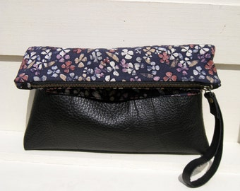 SALE Kimono Silk Clutch, folded over,black leather,large, vintage kimono, pocket, genuine leather