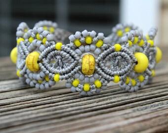Micro-Macrame Beaded Cuff Bracelet - Yellow and Grey