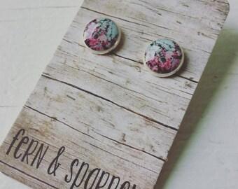 Cherry Blossom Resin Stud Earrings