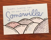 Somerville Massachusetts Holiday Postcard: set of 10 postcards