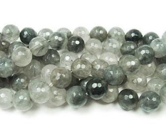 Cloud Grey Quartz Faceted Gemstone Beads
