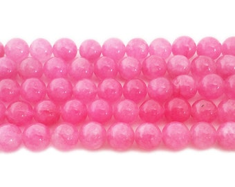 Pink Jade Round Gemstone Beads