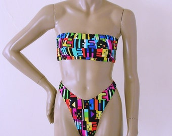 80s Thong Bikini Bottom and Strapless Bandeau Top in Jazz Print in S.M.L.XL.