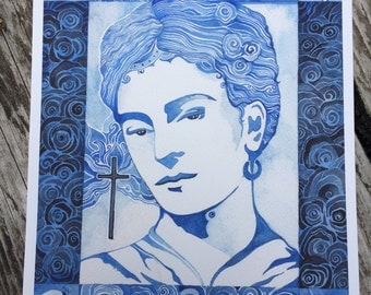 Blue Frida  Giclee print by Megan Noel