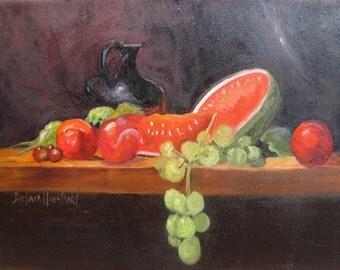Melon,Grapes,Pitcher, Still Life Framed Barbara Haviland Barbsgarden Texas Artist