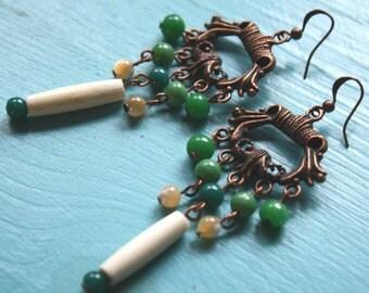 Green Chandelier Earrings- long earrings, boho earrings, hippie earrings, antiqued copper earrings, green and white earrings, gypsy earrings