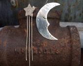 Sleepy Moon and Star Earrings - Sterling Silver