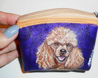 Apricot Poodle Dog Hand Painted Leather Coin Purse Vegan