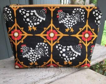 Makeup Bag | Chicken Makeup Bag | Lined Zipper Bag | Cute Chicken Fabric | Rooster Fabric Bag | Small Gift Under 20 | Zippered Accessory Bag