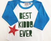 "Boys Infant Raglan Sleeved Shirt with ""Best Kiddo ..."