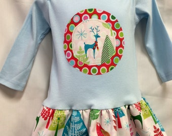 Christmas Tunic Dress- Modern Holiday Colored Reindeer Appliqué on White-Winter Blue Shirt