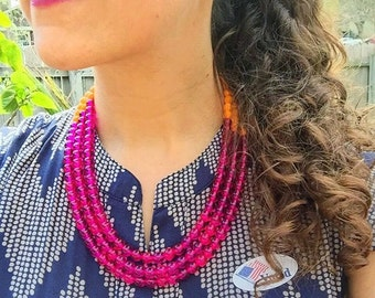 Hot Pink Statement Necklace, Hot Pink Jewelry, Statement Jewelry, Pink Necklace, Orange Statement Necklace, Big Necklace, Hot Pink Jewelry