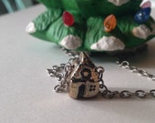 Tiny House Hand Sculpted In Bronze On Sterling Silver Chain