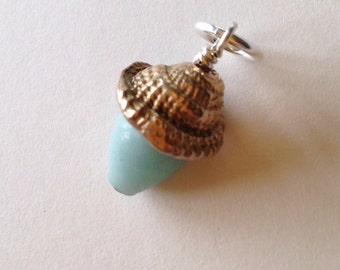 Seashell Gemstone Charm Hand Sculpted In Bronze And Sterling Silver