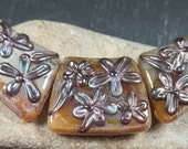 Opal caramel cleoptra shaped lampwork bead necklace set with pewter flowers